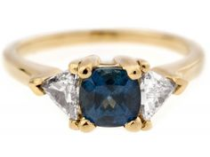 Custom Three Stone Sapphire and Trillion Diamond Ring