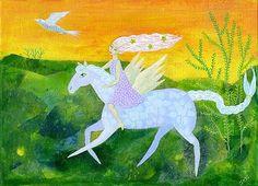 Mañana promesa, original mixta, pintura sobre lienzo tablero, 10 x 7ins.  cuento de hadas, flying horse,