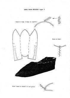 """shoe pattern. Svårt att hitta någon källa, det står Hedeby på bilden, men de påminner även om """"jorvik slipper"""" som finns på sidan """"footwear of the middle ages""""."""