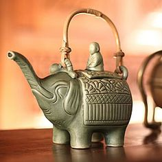 Ceramic 'Buddha and the Jade Elephant' Teapot (Indonesia) - Overstock™ Shopping - Great Deals on Novica Tea & Coffee Sets