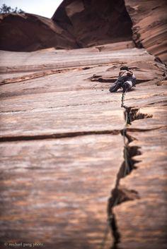 jeremy. rock lobster, 5.11b/c. indian creek, utah. march 2014. #climbing