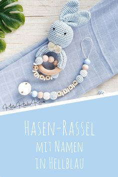 Rassel für Babys personalisiert mit Namen und der passenden Schnullerkette für Jungen in Blau Great set as a gift for birth for boys! Baby rattle as a rabbit in light blue with the matching pacifier chain personalized with the name of the child Crochet Baby, Knit Crochet, Kid Closet, Wooden Animals, Baby Kind, Baby Shop, Crochet Necklace, Knitting, Kids