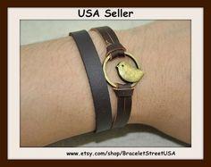 Bronze Cuff Bracelet Bird Bracelet Brown Leather Handmade Bracelet USA Seller Item #BST-153