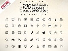 Download 100 Hand Drawn Doodle Icons Free PSD. This Icon set PSD Perfect for use in designing and developing Mobile App, Games, websites, as well as business cards, flyers, blog or any type of design projects. All Icons are vector shapes so You can change the color and scalable to any size you need.