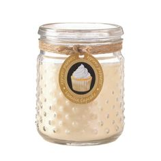 This candle looks and smells delightful. The hobnail jar is simply charming and the warm scent of freshly baked vanilla cupcakes is the best way to decorate any room! Burns up to 100 hours. Vanilla Cupcake Hobnail Jar Candle by Rustica House. #myRustica