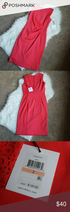 Calvin Klein cocktail dress Beautiful Calvin Klein cocktail dress. NWT. Size 2. Bought for a party. Never wore. Got stuck in the closet. Wrinkled from storage :( there is a slight discoloration on the front. Very small. Can not see when on. Please see 4th pic. If you have any questions please ask :) Calvin Klein Dresses Midi
