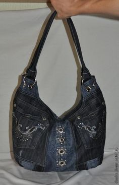 Denim bag with grommets.