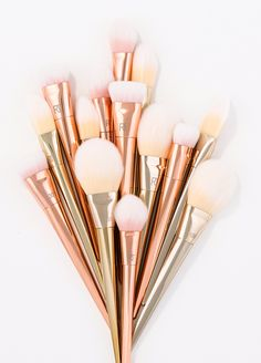 Flat contour brush, oval eyeshadow brush, foundation brush (Walmart usually has a few)