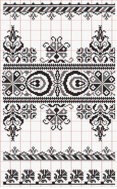 Red and Black Hungarian Folk Embroidery Cross Stitch Boarders, Cross Stitch Samplers, Cross Stitch Charts, Cross Stitch Designs, Cross Stitching, Cross Stitch Patterns, Blackwork Patterns, Blackwork Embroidery, Folk Embroidery
