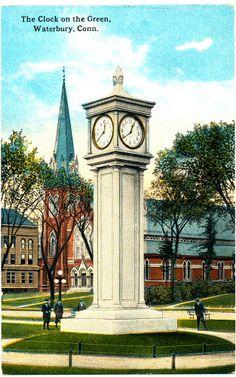 WATERBURY CT - Clock on Green Waterbury Connecticut, West Hartford, Time Clock, Old Newspaper, Capital City, First World, Genealogy, New England, Big Ben