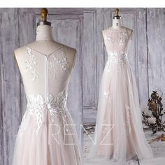 2017 Off White Lace Bridesmaid Dress Long Peachy Beige Scoop