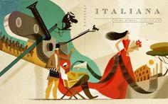 Le copertine illustrate da Riccardo Guasco per il magazine Italiana - Frizzifrizzi