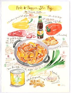 Would you like to have your favorite recipe, or your own family's famous recipe on your kitchen wall ? Or isn't it the perfect gift for any food lover. This listing includes an original watercolor pai Recipe Drawing, Watercolor Food, Watercolor Painting, Food Sketch, Famous Recipe, Guacamole Recipe, Food Journal, Food Drawing, Food Illustrations