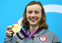 Gold medalist Katie Ledecky of the United States poses on the podium during the medal ceremony for the Women's 800m Freestyle on Day 7 of the London 2012 Olympic Games at the Aquatics Centre on August 3, 2012 in London, England.