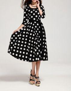 3/4 Sleeves Scoop Neck Waistband Beam Waist Polka Dot Pattern Ruffles Ladylike Women's Dress, BLACK, L in Chiffon Dresses | DressLily.com