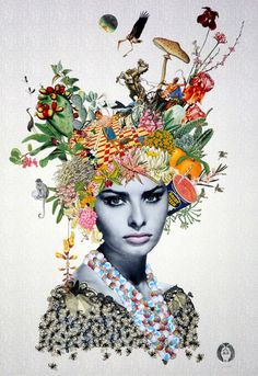 Maria Rivans - Maria Rivens is Collage artist - Art And Illustration, Collage Portrait, Face Collage, Nature Collage, Flower Collage, Paper Collage Art, Magazine Collage, Identity Art, Art Graphique