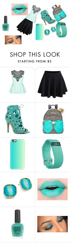 """""""teal"""" by pantherbear515 ❤ liked on Polyvore featuring City Chic, WithChic, ALDO, Betsey Johnson, Casetify, Fitbit, ABS by Allen Schwartz and Piggy Polish"""