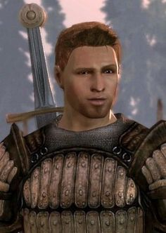 Alistair from Dragon Age:Origins. This is the virgin Grey Warden that stole my heart. Sweet, sentimental, fills out his armor to perfection...and he gave me a rose...*Swoons*