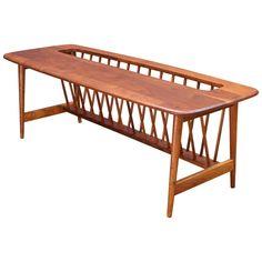 Monumental Cabin Modern Mid-Century Magazine Rack Walnut Table