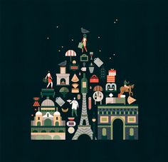 Illustrated map of Paris for French newspaper Le Monde by Lotta Nieminen — Agent Pekka Lagom Design, Design Art, Graphic Design, Flat Design, Travel Illustration, Creative Illustration, Paris Illustration, Tour Eiffel, Lotta Nieminen