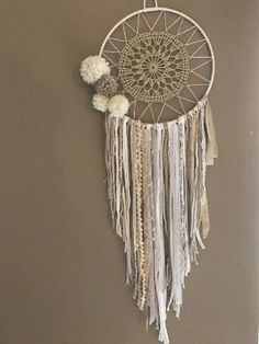 Attrape rêves, Dreamcatcher boho chic pompons by barbra