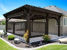 A modern pergola adds style and shade to your backyard. When you want to build a pergola to your patio or backyard, surely you will need posts, larger pots for plants, and other materials. Timber Pergola, Pergola With Roof, Outdoor Pergola, Wooden Pergola, Backyard Pergola, Outdoor Rooms, Backyard Landscaping, Cheap Pergola, Pergola Lighting