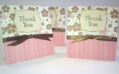 Set of 4 Pink Flower Card Set by NyraCards on Etsy,