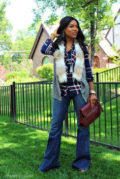 fur collar vest + plaid shirt + flare jeans for Valerie Rowekamp's November 2015 Marie Claire magazine feature