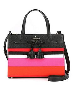 kate spade new york Hayes Street Collection Small Isobel Striped Tasseled Bow Satchel