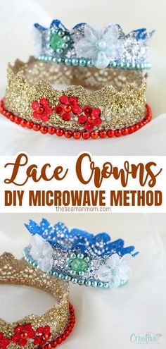 Hosting a kids birthday party or dress-up soon? Make the little girls happy with this lace crown tutorial! A must for every princess, a glitter crown is fun and simple to make!  #easypeasycreativeideas #diy #lace #diycrown #crowns #kidsactivities #kidscrafts #craftsforkids Crafts To Make And Sell, Easy Crafts For Kids, Diy For Kids, Diy Crafts, Creative Crafts, Decor Crafts, Princess Party Favors, Birthday Party Favors, Birthday Crowns