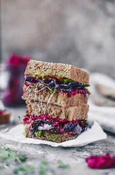 beet hummus avocado sandwich