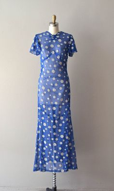 Day at Deauville dress / vintage 1930s dress / maxi by DearGolden | 30s sheer fashion style
