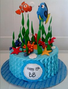 Finding Nemo ♥♥ - Made this for my 15 year old daughter. Nemo and Dory are made out of fondant also all the other decorations. The cake was covered in blue buttercream. Finding Nemo Cake, Finding Dory, Dory Cake, Gravity Cake, Mermaid Cakes, Disney Cakes, Sea Cakes, Themed Cakes, Cupcake Cakes