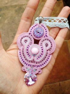 Lavender and turquoise soutache pendant by galeriamagia.blogspot.com