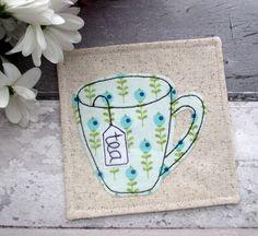 Fabric Coaster, Tea Coaster, Drink Coaster, Housewarming Gift, Applique Coaster, Home Decor, Green Fabric Coaster, Gift For Her by TheCornishCoasterCo on Etsy