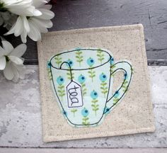 Fabric Coaster, Tea Coaster, Drink Coaster, Housewarming Gift, Applique Coaster, Home Decor, Green Fabric Coaster, Gift For Her by TheCornishCoasterCo on Etsy