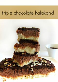 Triple chocolate kalakand is easy to make indian fusion dessert with handful of ingredients and less than 30 minutes in the microwave.Its a moist milk cake.