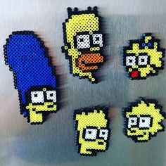 The Simpsons magnets hama beads by litzsas