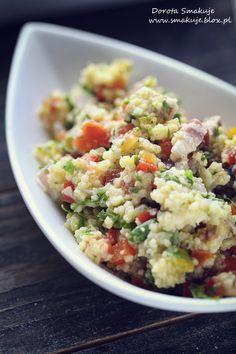 Sałatka z kasza jaglaną, papryką, szynka i ziołami Potato Salad, Chili, Salads, Food Porn, Potatoes, Ethnic Recipes, Lunch, Cook, Chile