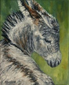 Gentle Burro Oil Painting Donkey Horse Pet Animal Art, painting by artist Debra Sisson