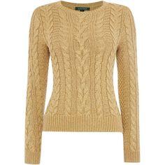 Lauren Ralph Lauren Jontel crew knit jumper (890 BRL) ❤ liked on Polyvore featuring tops, sweaters, shirts, jumper, gold, women, metallic shirt, long sleeve knit shirts, crew shirt and metallic sweater