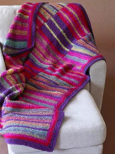 Three-panel Striped Afghan. FREE pattern from Lion Brand.