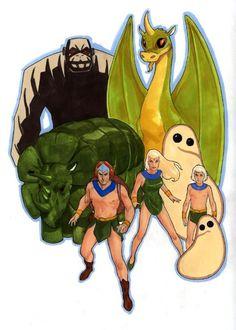 The Herculoids Zandor,Tundro, Igoo, Zok, Gloop, Dorno, Gleep, and Taya..