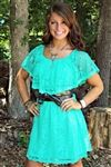mint lace dress with attached lining