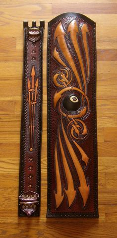 Awesome Hand Tooled Leather Pool Cue Case. Picture Taken Before Case Assembled. By  Phil Eastwood