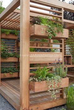 Pergola with built in planters stacked above and below each other, smart way to reduce water usage