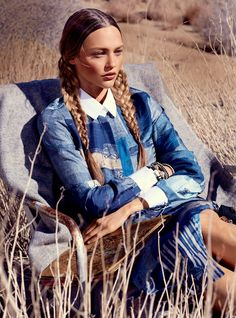 Over the horizon of Spring walks a New Spirit, a movement in the direction of earthiness and hand worked embellishment---the craft of the Navajo, the creativity of O'Keeffe,  Publication: US Vogue Issue: February 2013 Title: Portrait Of The Artist Model: Sasha Pivovarova Photography: Mikael Jansson Styling: Tabitha Simmons Hair: Eugene Souleiman Make-up: Hannah Murray