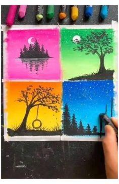 Easy Acrylic Painting Ideas #big #painting #ideas #easy #bigpaintingideaseasy Oil Pastel Drawings Easy, Oil Pastel Paintings, Oil Pastel Art, Simple Acrylic Paintings, Cool Paintings, Oil Pastels, Art Drawings Beautiful, Art Drawings Sketches Simple, Drawing Ideas