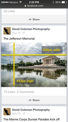 Facebook page image sizes, from cover page, profile pic to different types of posts.