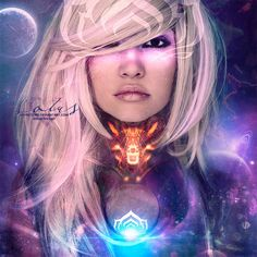 Warframe: Lotus by Infinite705  #warframe #lotus #kreattiv #manipulation #space #stars #female #model #graphics #art #glow